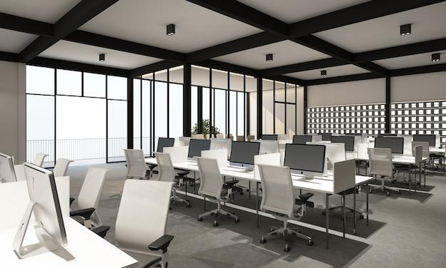 Área de trabajo en oficina moderna con piso de alfombra en estilo moderno tono blanco y sala de reuniones. representación 3d interior