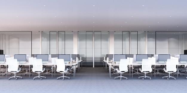 Área de trabajo de oficina moderna con piso de alfombra gris y escritorio blanco y sala de reuniones representación 3d