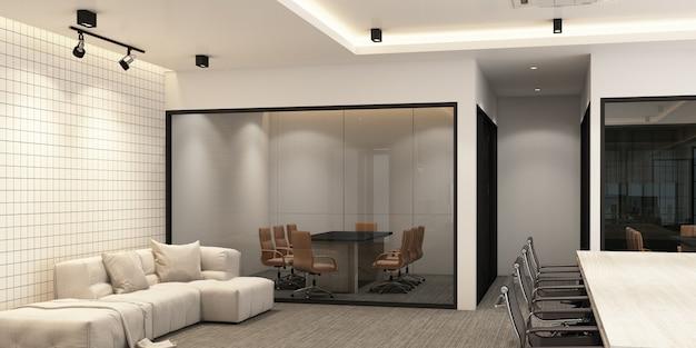 Área de trabajo en oficina moderna con piso de alfombra y sala de reuniones. representación 3d interior