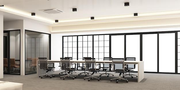 Área de trabajo en oficina moderna con piso de alfombra y sala de reuniones