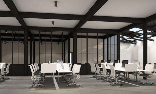 Área de trabajo en oficina moderna con piso de concreto en loft industrial