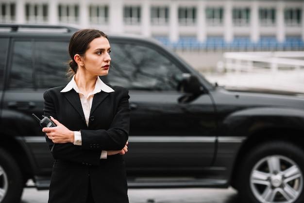 Área de vigilancia femenina de seguridad
