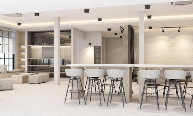 Áreas de trabajo y descanso con estantería y mesa de conferencias en blanco moderno renderizado de oficina