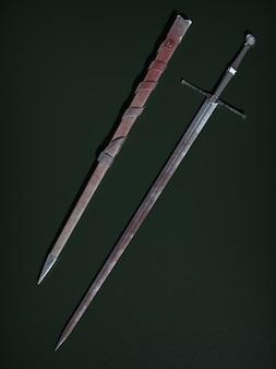 Armas de combate antiguas. ilustración 3d