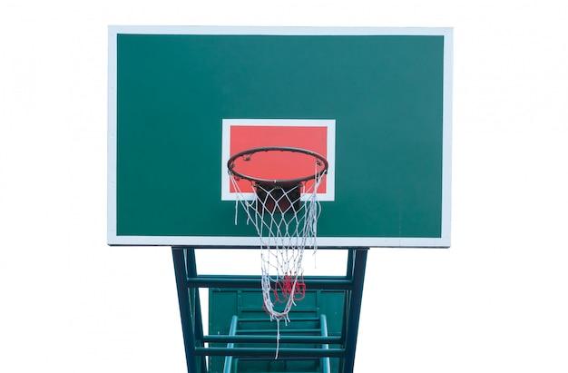 Aro de baloncesto de madera aislar el fondo blanco, canasta de baloncesto