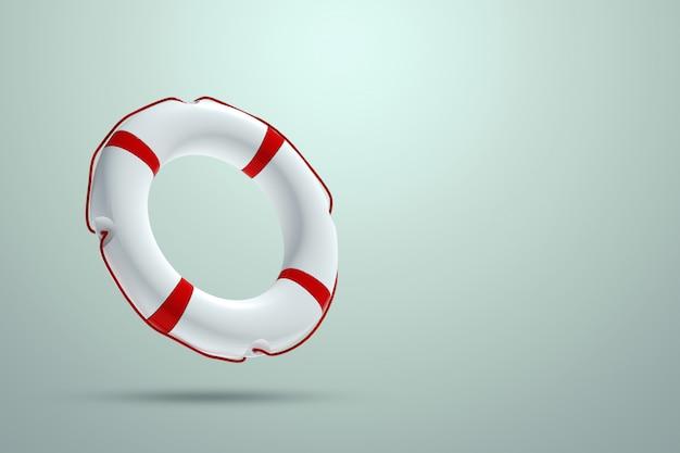 Aro salvavidas en una pared de luz. ayuda, concepto de rescate. copia espacio ilustración 3d, representación 3d.