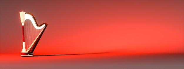 Arpa clásica sobre un fondo rojo, ilustración 3d