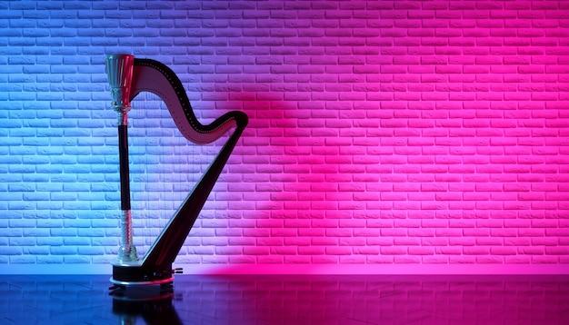 Arpa vieja en misteriosa iluminación de neón, ilustración 3d