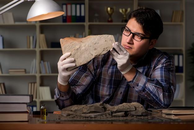 Arqueólogo trabajando tarde en la noche en la oficina