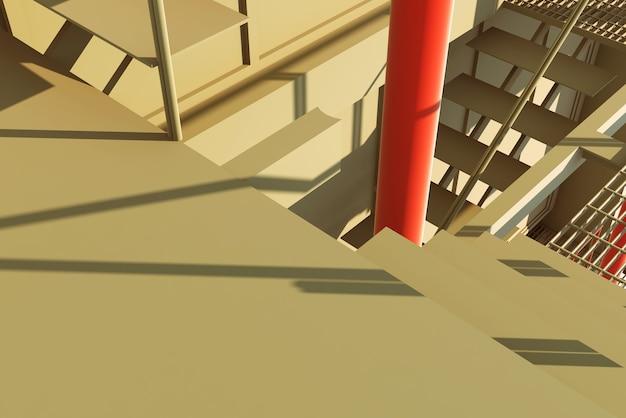 Arquitectura 3d, obras de espectáculos, trabajos de escaleras
