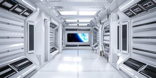 Arquitectura futurista interior del corredor de ciencia ficción en la estación espacial con vista del planeta tierra