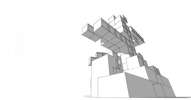 Arquitectura moderna en una hermosa metrópoli. ilustración de dibujo lineal a mano alzada, ilustración 3d.