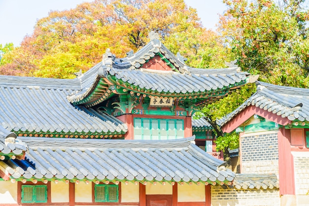 Arquitectura en el palacio changdeokgung en la ciudad de seúl en corea
