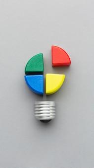Arreglo abstracto de vista superior con elementos de innovación