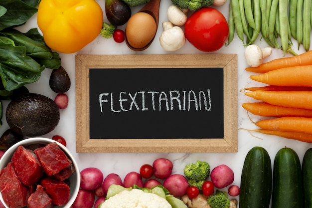 Arreglo de alimentos de dieta flexitariana