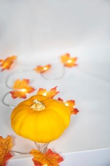 Arreglo de borde otoñal de calabaza naranja y hojas coloridas con luces bokeh a blanquecino b