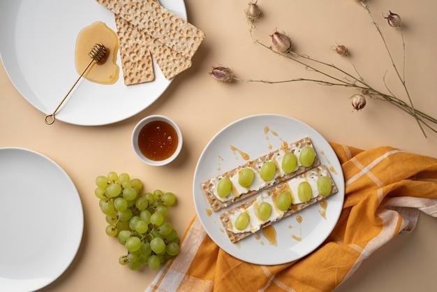 Arreglo de comida de picnic saludable