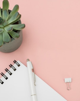 Arreglo de elementos de finanzas en mesa rosa