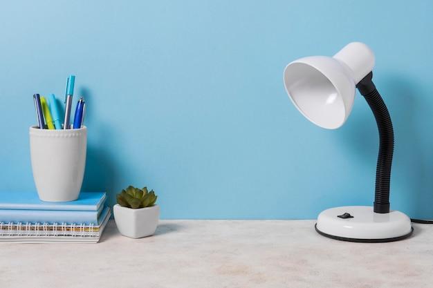 Arreglo de escritorio con lámpara y planta.