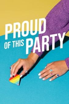 Arreglo de fiesta del día mundial del orgullo con mensaje