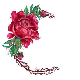 Arreglo floral romántico, flores de peonía, aislado.
