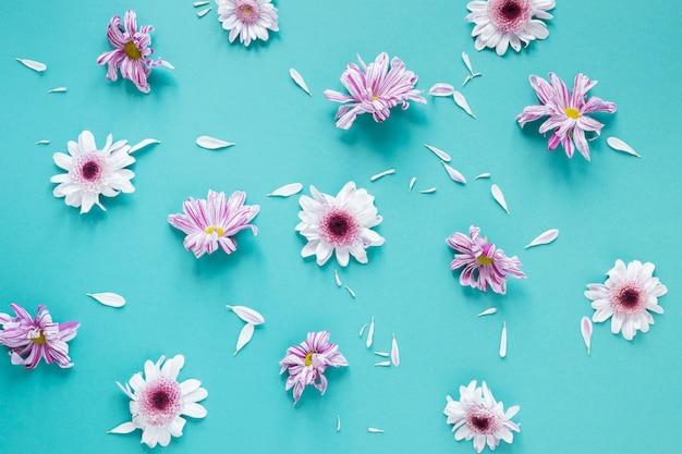 Arreglo de flores de color violeta pastel y pétalos.