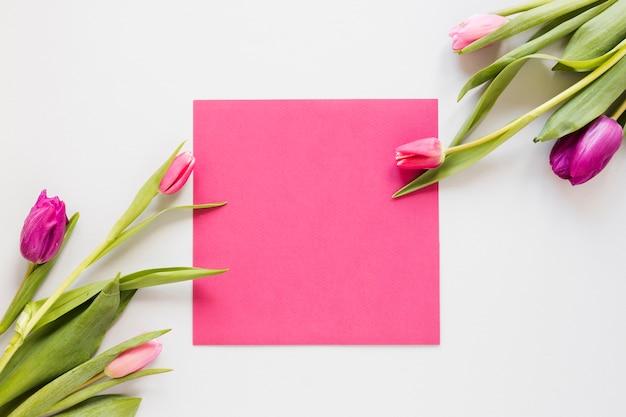 Arreglo de flores de tulipán y papel de invitación vacío rosa