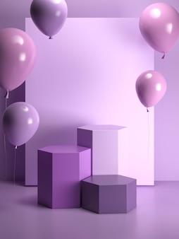 Arreglo de globos morados con escenario.