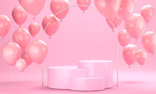 Arreglo de globos rosa con escenario.