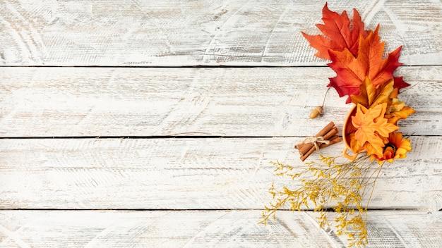 Arreglo de hojas sobre fondo blanco de madera con espacio de copia
