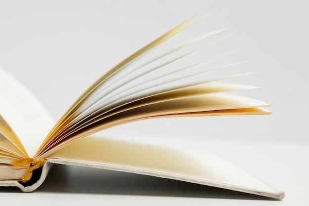 Arreglo con libro y fondo blanco.