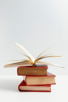 Arreglo con libros y fondo blanco.