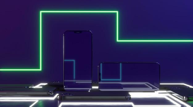 Arreglo de luz de neón y teléfonos inteligentes