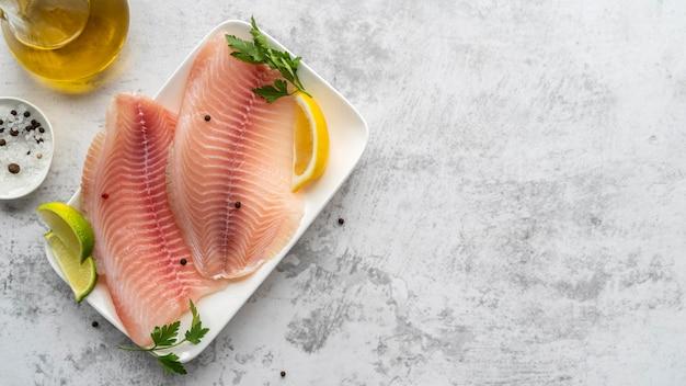Arreglo de mariscos deliciosos laicos plana Foto gratis