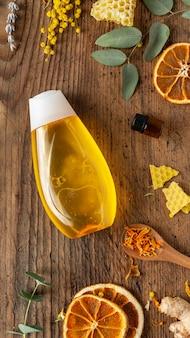 Arreglo de medicina natural vista superior