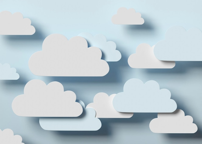 Arreglo de nubes blancas y azules