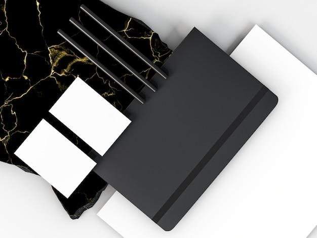 Arreglo de papelería comercial copia espacio y cuaderno