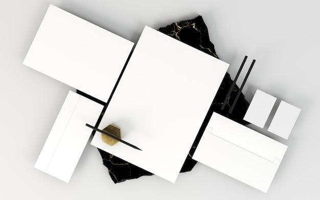 Arreglo de papelería comercial copia espacio y lápices