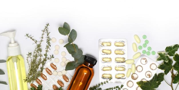 Arreglo de productos para el cuidado de la salud.
