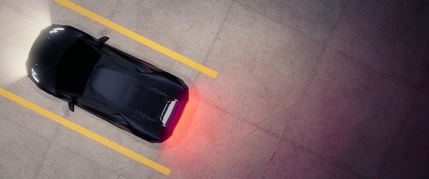 Arriba hacia abajo del estacionamiento con coche, render 3d