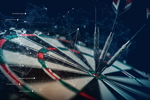 Arrow dart board hit taget bull eyes concepto de ideas de estrategia empresarial con línea gráfica de conexión virtual doble exposición