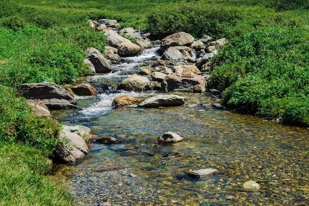 Arroyo de montaña con grandes rocas cerca de prado verde en un día soleado