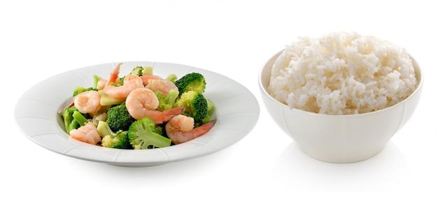 Arroz con comida tailandesa saludable brócoli salteado con camarones