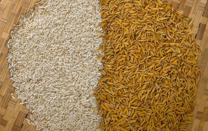 Arroz molido y fondo de arroz sin moler