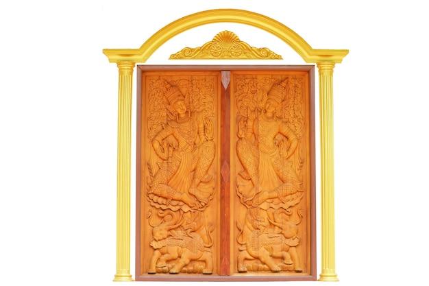Art angel montando un elefante tallado puerta de madera con borde dorado que se utiliza para decorar el interior del templo budista