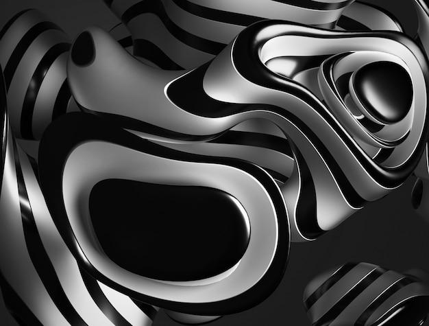 Arte 3d en blanco y negro con parte de un objeto metálico esférico con líneas onduladas en blanco y negro en la superficie