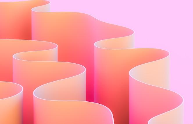 Arte abstracto 3d con forma de curva.