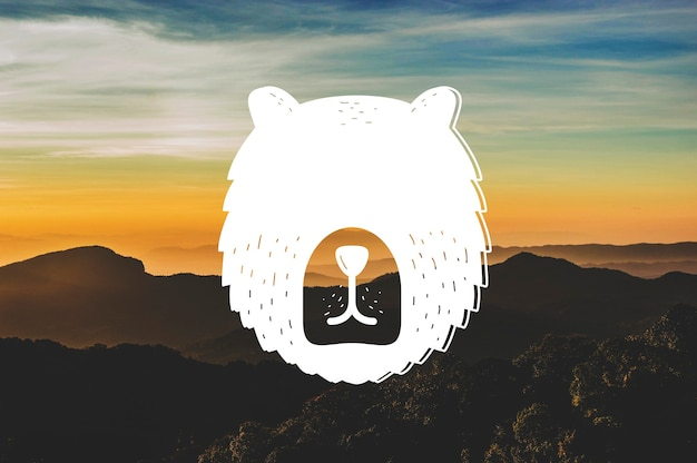 Arte abstracto de la bandera del animal de la fauna de la cabeza del oso