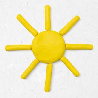 Arte de arcilla de sol amarillo lindo gráfico de arte creativo hecho a mano