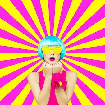 Arte de collage mínimo. dama colorida en el fondo geométrico. la primavera está llegando